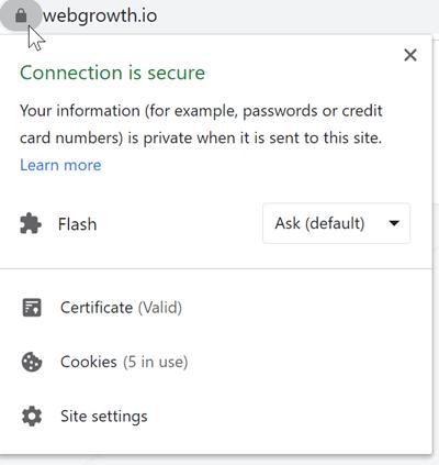ssl padlock window info